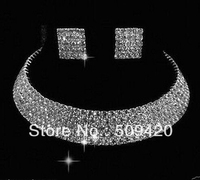 hot sell >>New Jewerly 5 Rows Wedding Bridal Party crystal Necklace Earring Silver Plated