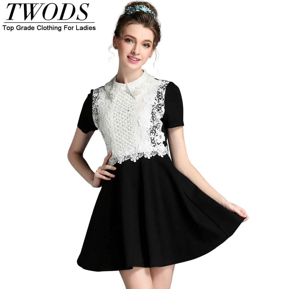 d01beb28c167 Twods S- 5XL Elegant Women Black Skater Dress White Collar Pearl Embellish  Short Summer Dress Plus Size Vestidos Mujer 2016