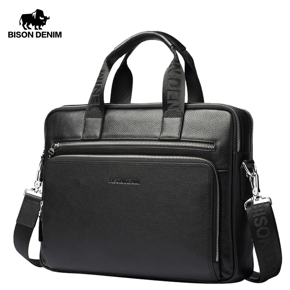 BISON DENIM Genuine leather Briefcases 14 Laptop Handbag Men s Business Crossbody Bag Messenger Shoulder Bags