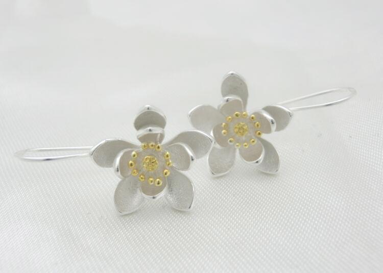 Women's 925 Sterling Silver Lotus Earrings 3