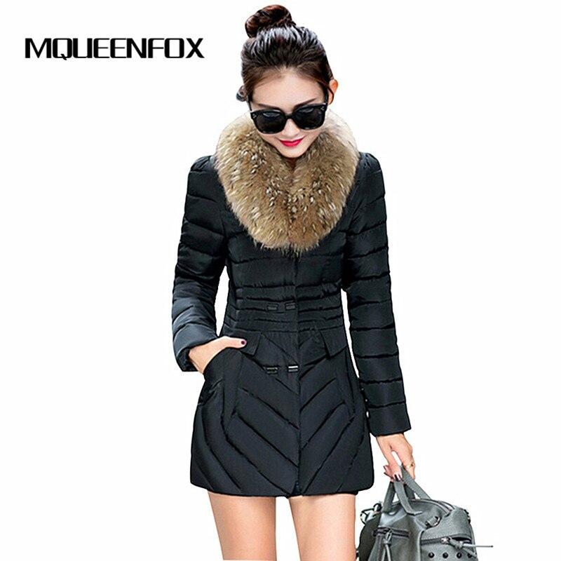 2017 Fashion New Womens Coat Fur Collar Female Winter Jacket Double Breasted Medium Long Slim Parkas Jackets