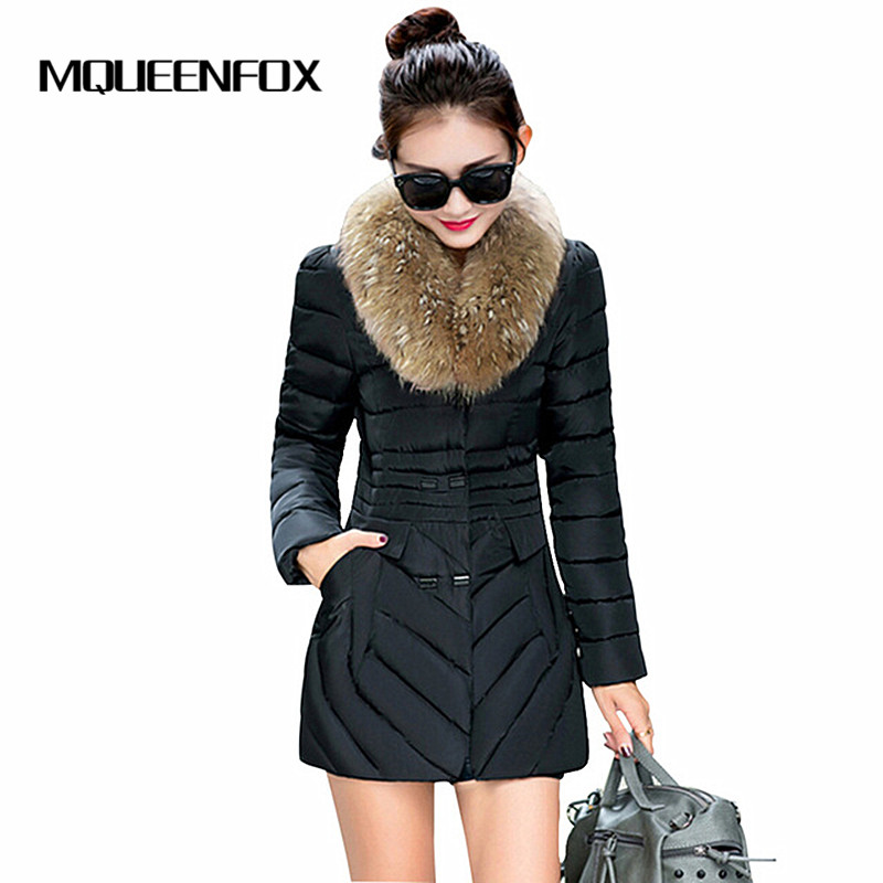 2017 New Winter Women Coat Fur Collar Female Winter Jacket Double Breasted Medium Long Slim Parkas Jackets 2017 winter new clothes to overcome the coat of women in the long reed rabbit hair fur fur coat fox raccoon fur collar