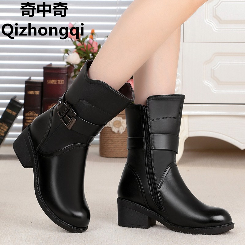 2017 autumn and winter new high-quality natural genuine leather women's boots with thick wool snow boots designer Martin boots snow boots free delivery of autumn and winter high quality 100