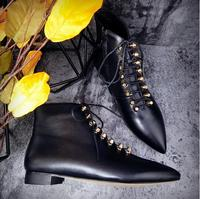 2017 Brithsh Style Autumn Winter Women Boots Lace Up Pointed Toe Booties Black Flat Ankle Boots Genuine Leather Lace Up Boots