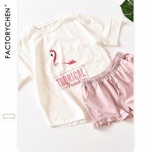 Image 3 - Hồng Hạc Tay Ngắn + Quần Short Nhà Phù Hợp Với Vị Trí 100% Cotton Pyjama Bộ Mùa Hè Ban Đêm Dành Nữ Pijama Quần Áo Mặc Ở Nhà