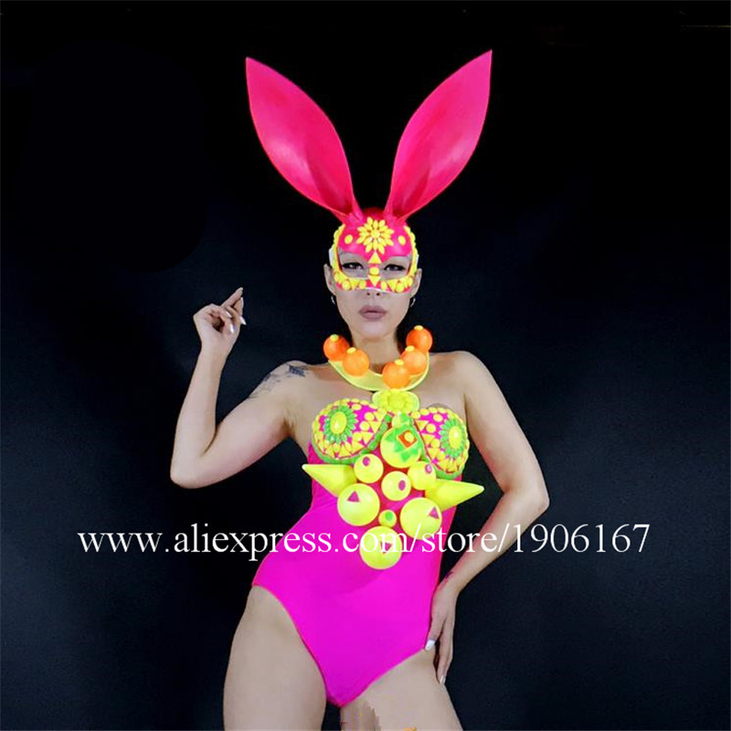 Girl Lady Women Stage Dance Performance Clothes Costumes Masks Sets for Catwalk Shows