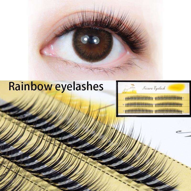 7-11mm Natural Soft 6D False Eyelash Extension 10D Deluxe Lashes Rainbow Fake EyelashesCluster Fake Lashes Individual Makeup Ey