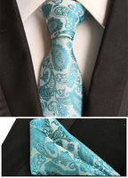 NEW Fashion Ties SET Classic Men Wedding Party Necktie White With Sky Blue Handkerchief Match Handkerchief