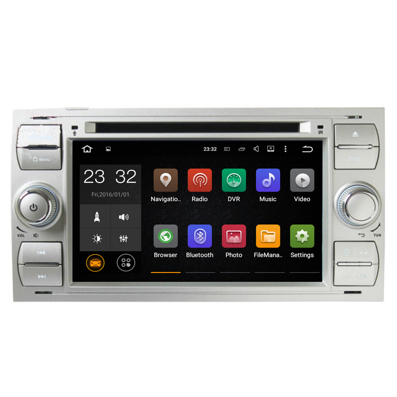 1024*600 4 Core Android 7.1 2 Din 7 Car DVD GPS For Ford Mondeo Transit Fiesta Galaxy Fusion C-MAX S-MAX Focus Kuga 4G WiFi 3G