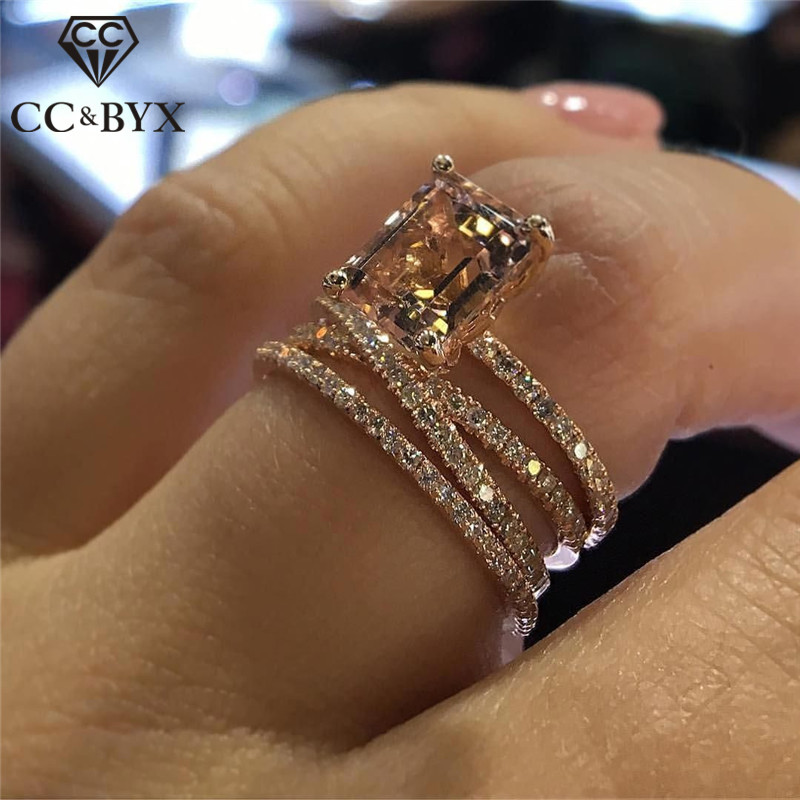Galleria fotografica CC Wedding Rings For Women Luxury Jewelry Bridal Engagement Cubic Zirconia Ring Rose Gold Color Accessories Drop Shipping CC2280