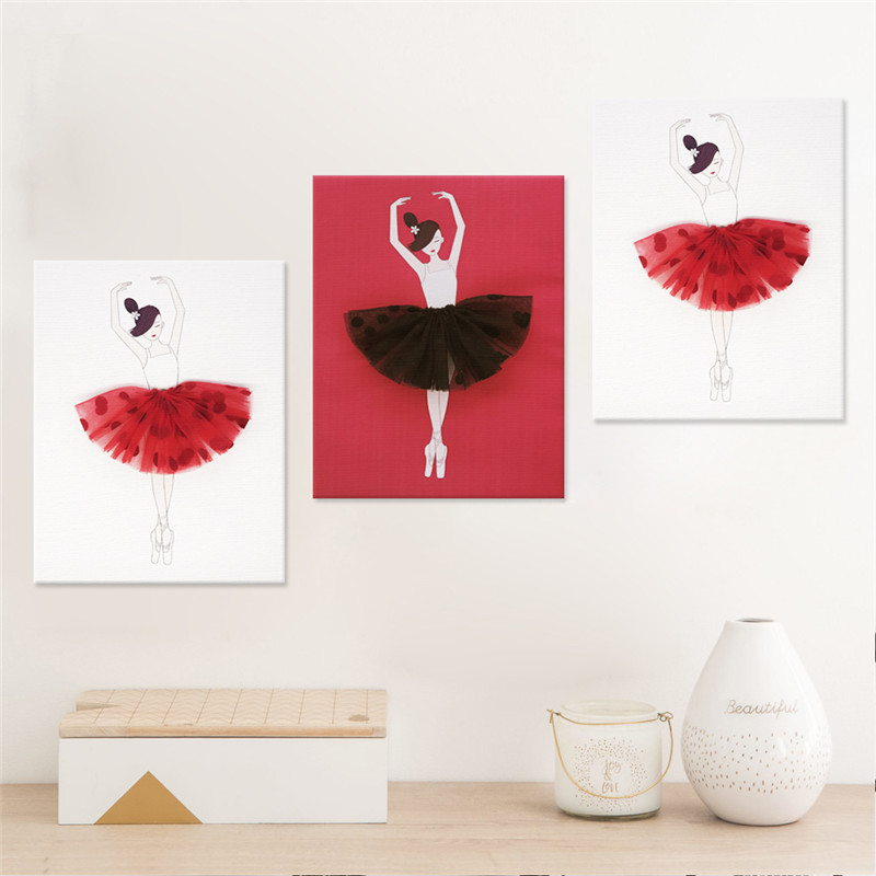 3pcs set Nordic Cartoon Red Ballet Dance Girls Wall Art Canvas Poster Print Painting Mural Livingroom Home Decor Background Hot in Painting Calligraphy from Home Garden