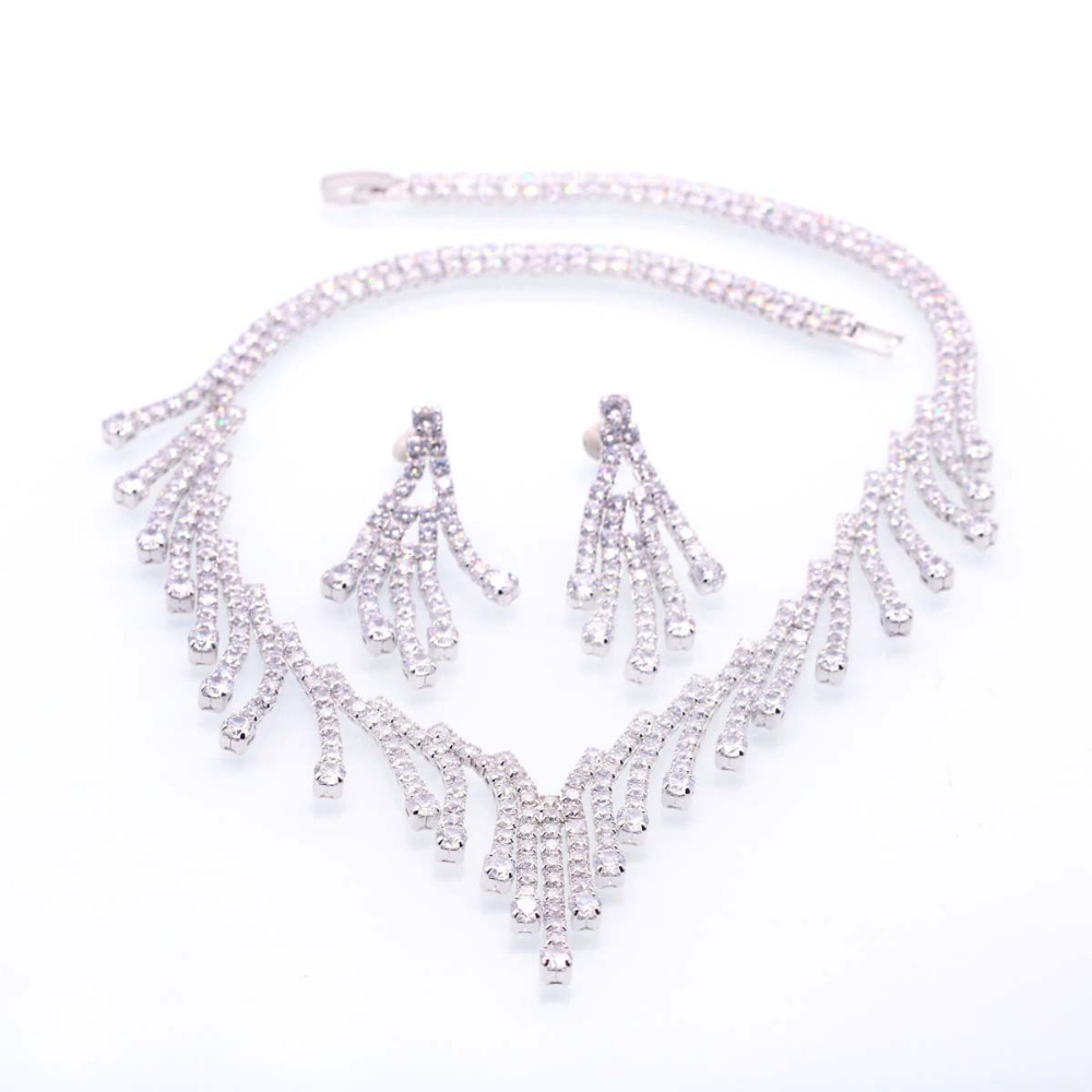 GZJY Elegant Bridal Jewelry Sets For Women White Gold Color Waterdrop AAA Zircon Fashion Wedding Necklace Earring Jewelry