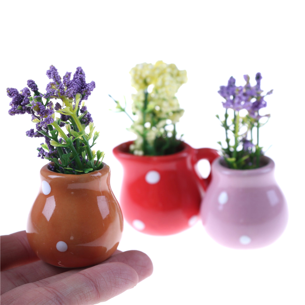 Dolls, Bears Miniature Dollhouse 1:12 Scale Garden Planter Box Flower Pot