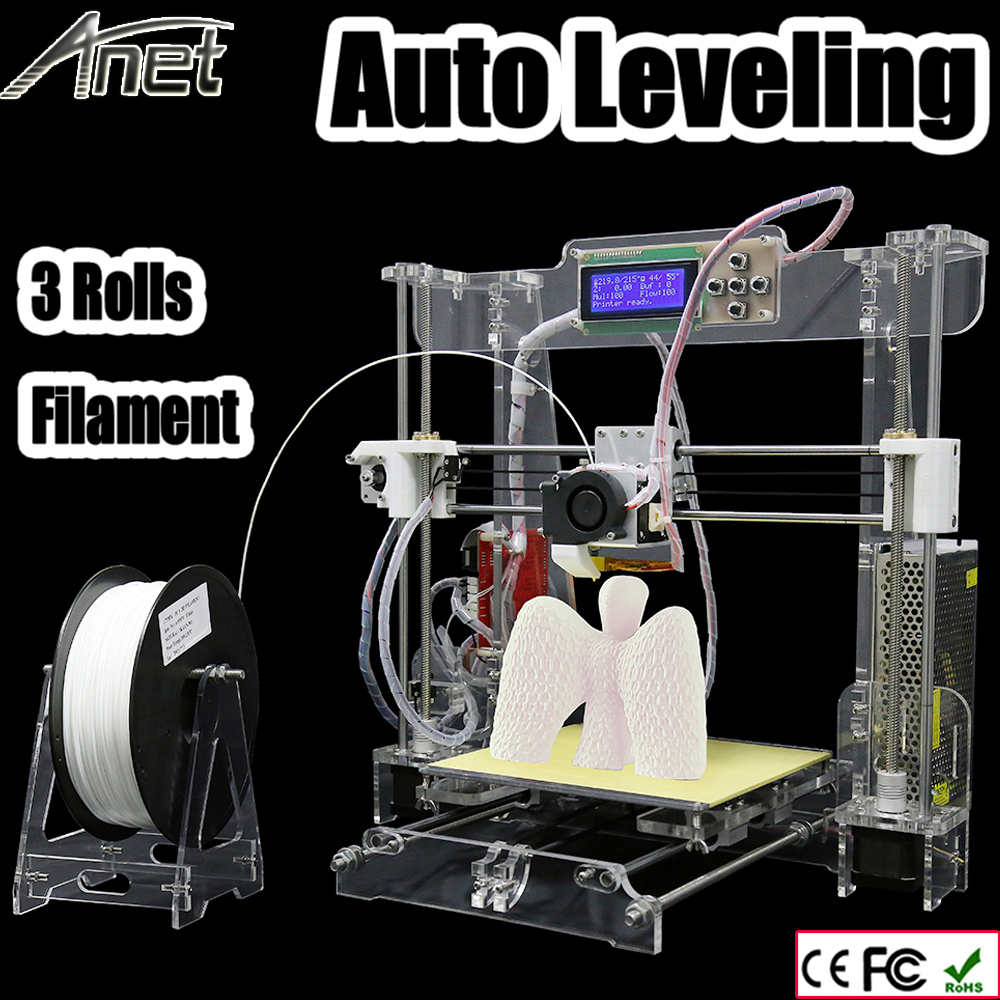 Newest Upgrade  Anet A8 Auto leveling 3D Printer kit diy 3d printer with Aluminum Hotbed 3Roll Filament 8GB card LCD lcd display diy 3d printer with one roll filament sd card lcd masking tape for free