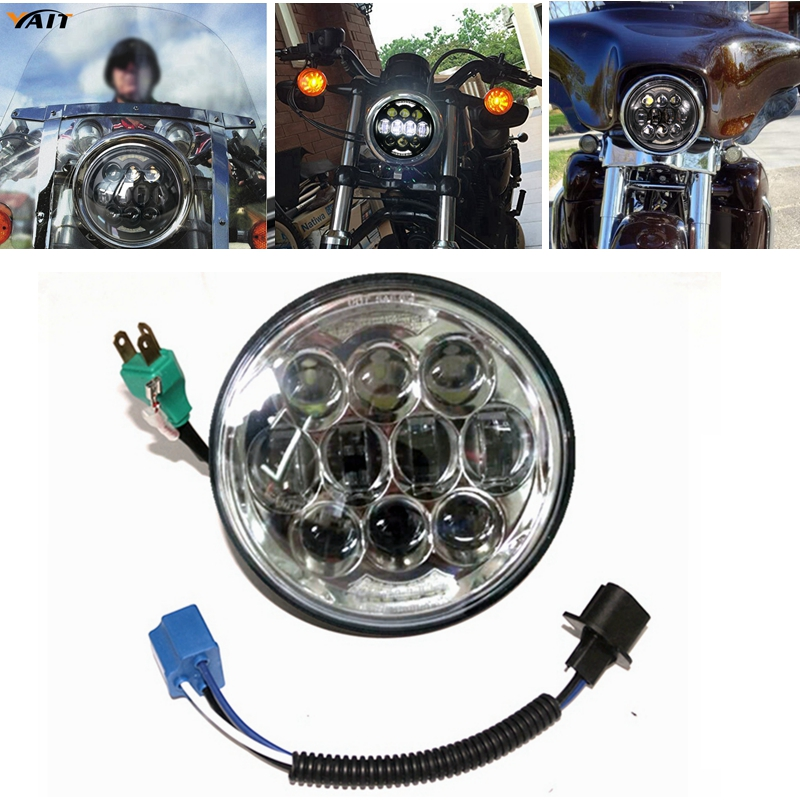 5-3/4 LED Headlight 5.75 80W Projector Daymake LED Headlamp Auxiliary Lamps with Angel Eyes for Harley Davidson Motorcycle
