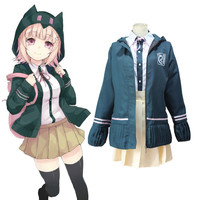 Super DanganRonpa 2 Chiaki Nanami Cosplay Costumes School Uniform Set Completo Fancy Party Dress (Jacket + Shirt + Skirt + Bow tie)