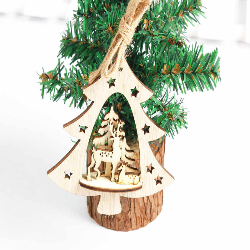 Christmas Wood Crafts.1pc Creative Christmas Wooden Pendants Ornaments Diy Wood Crafts Xmas Tree Ornaments Christmas Party Decorations Kids Gift