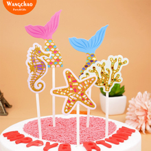5pcs/lot Mermaid Cupcake Topper Boy Girl Baby Shower Happy Birthday Cake Party Decorations Favors 2018