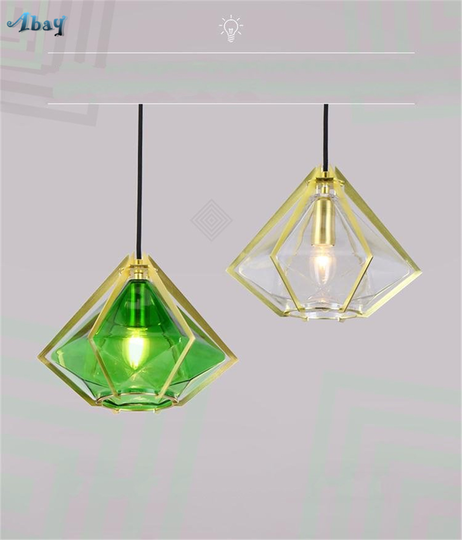 Noridc modern diamond shape glass pendant light for living room bar study bedroom restaurant light fixtures home deco glass lamp