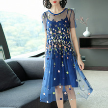 Dress Summer 2019 Womens New Fashion Embroidered Mesh Perspective Round Neck Short Sleeved A-Line Two-piece Midi S-XL
