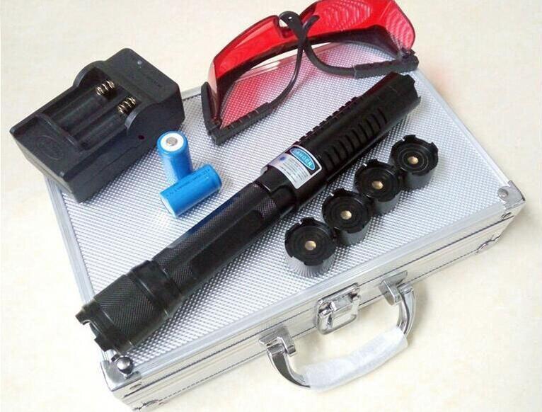 Potente Blu Laser Pointer Pen Fascio di Luce 8000000 m 450nm Penna Laser Ad Alta Potenza Luce Della Torcia bruciare carta sigaretta accesa + 5 caps + box