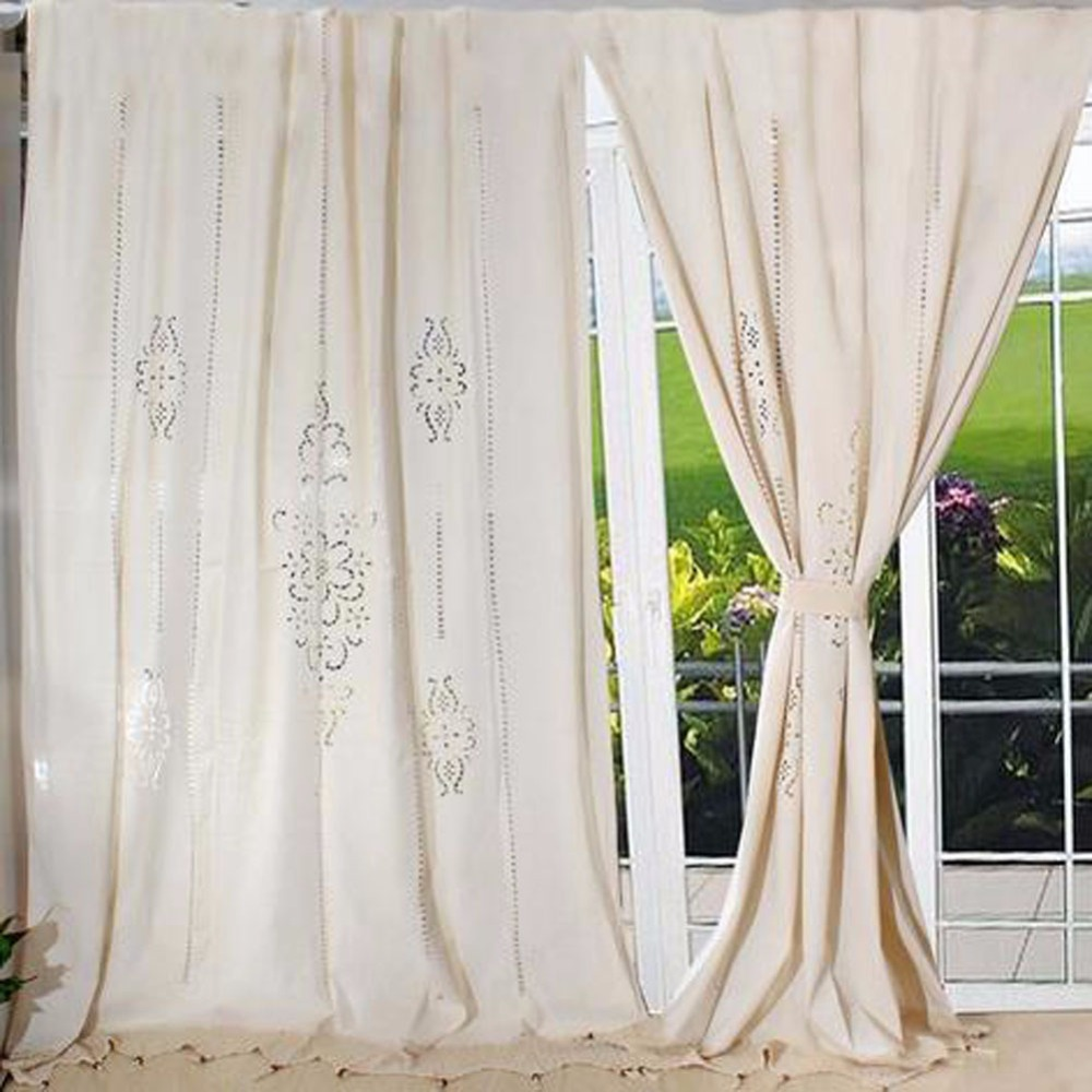 French curtain panels - Tab Top French Country Cotton Linen Crochet Lace Curtain Panel Drape For Living Room Hotel Cafe