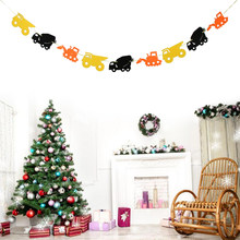Mooie Tractor Auto Vilt Banner Baby Shower Kids Verjaardag Opknoping Garland Decoraties 3.28 Yards(China)
