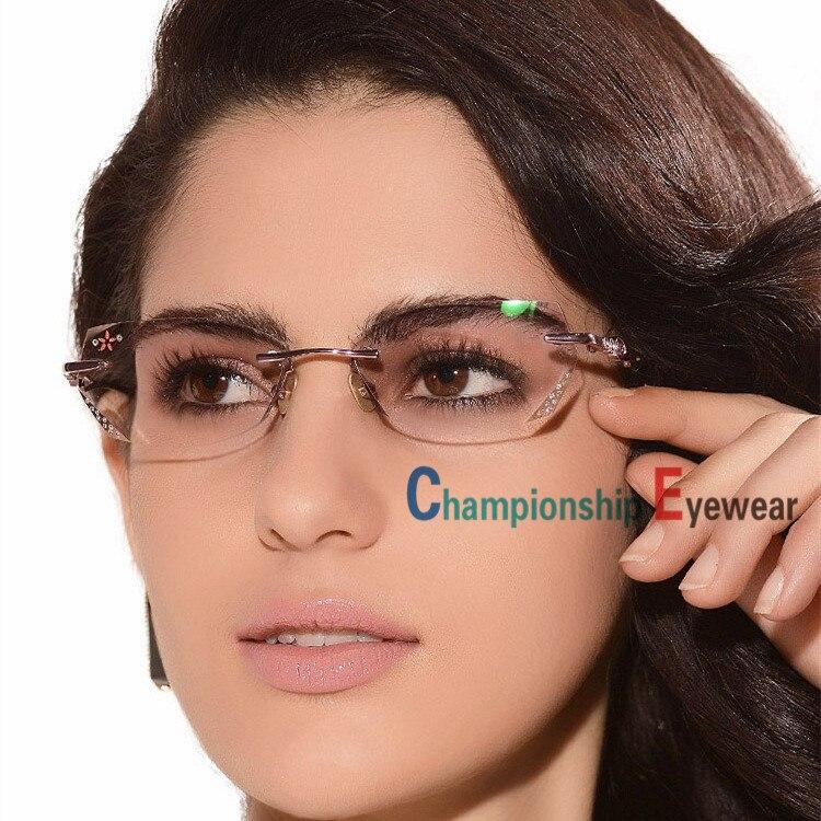 2015 Real Luxury Women Cut Diamond Optical Eyeglasses Eye Glass ...