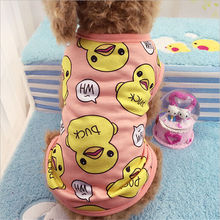 Cute Pet Dog Clothes For Small Dogs Duck Printed Spring Puppy Cat Cotton T-shirt Vest Summer Clothing Chihuahua Pug Shirts