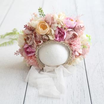 Vintage Newborn Floral Bonnet Baby girl Hat For Photography Knitted Garden Flower Photo Shoot Props