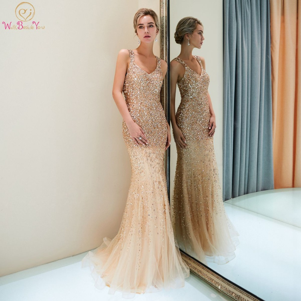 Shiny   Evening     Dresses   Mermaid Deep V-neck Champagne Long Beaded Crystal Prom Gowns Sexy Spaghetti Strap Sweep Train Cut Out Back