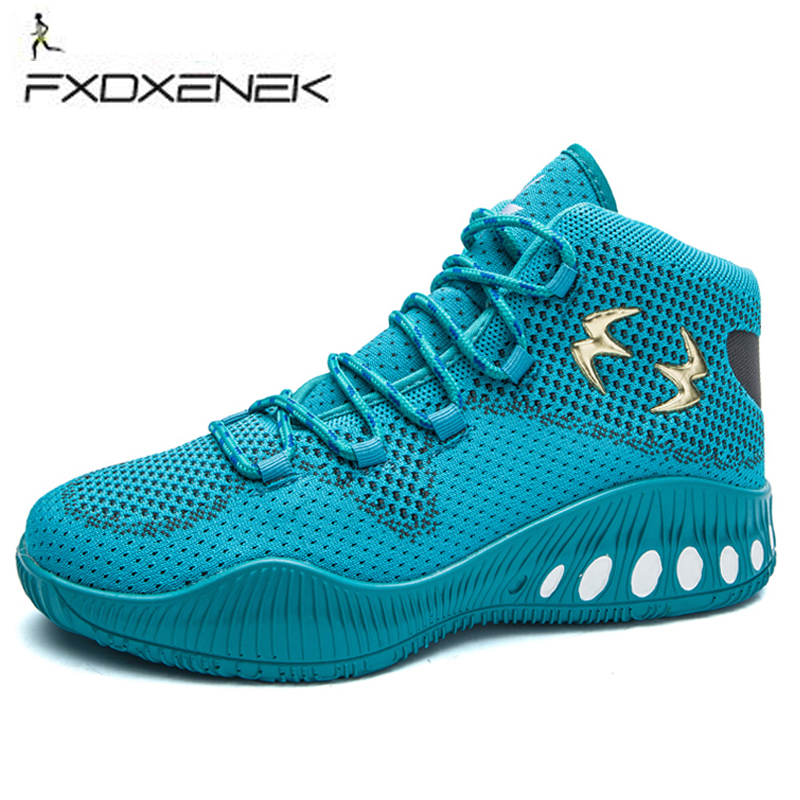 FXDXENEK High Top Basketball Sneakers Men Boys Size 41-45 Authentic Basketball Shoe Leather Black Blue Basketball Shoes Trainers
