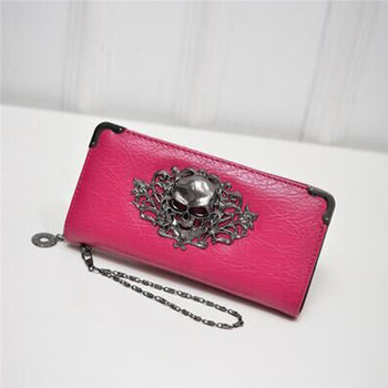 Women's Lace Skull Wallet Bags and Wallets Best Seller Hot Promotions Women's Wallets Color: Rose Red