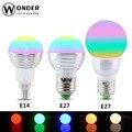 RGB Lâmpada LED E27 E14 GU10 3 W/5 W CONDUZIU a Luz Da Lâmpada Led novidades Spot light Bulb 16 Alterar Cor Regulável + 24 Teclas do Controlador Remoto