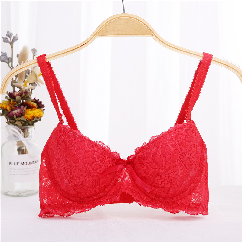 Black white color Sexy Lingerie Push Up Bra 3 4 Cup big Size gather breast thin cup lace bra deep u t shirt bra 34 36 38 in Bras from Underwear Sleepwears