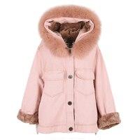 Зимняя джинсовая куртка оверсайз для девочек с натуральным лисьим мехом ягненка парки chaquetas invierno mujer Женская куртка пальто для женщин 2018