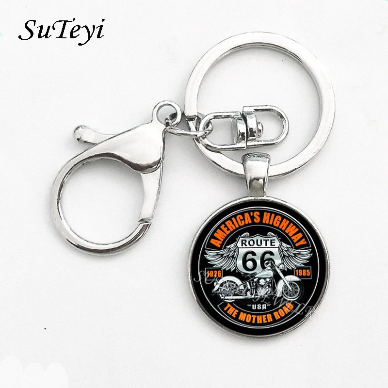 Vintage Metal Key Chain USA Route 66 Route Signs Key Ring Charming Men And Women Gifts Round Glass Cabochon Pendant Keychian цена 2017