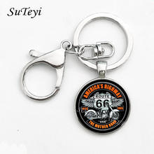 Vintage Metal Key Chain USA Route 66 Route Signs Key Ring Charming Men And Women Gifts Round Glass Cabochon Pendant Keychian(China)