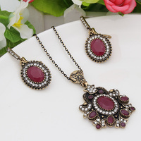 Vintage Jewelry Sets Turkish Retro Gold Plated Earring Nacklace Ring Floral Pendant CZ Crystal Antique Indian