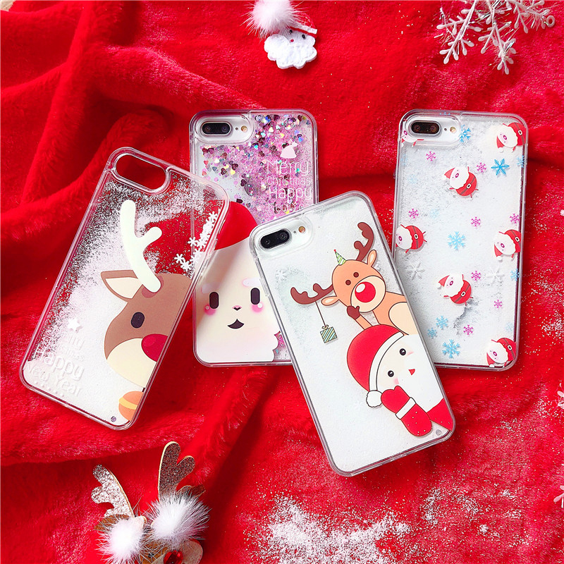 Christmas Phone Case Iphone Xr.Merry Christmas Phone Case For Iphone Xr Xs Xs Max X 6 6s 7 8 Plus Liquid Dynamic Snowman Deer Hard Pc Tpu Mobile Back Cover
