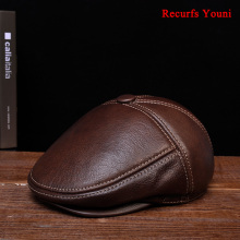Fitted Hats Beret-Caps Boina Velvet Real-Leather Winter Black/brown for Man Eldly Dad-Head