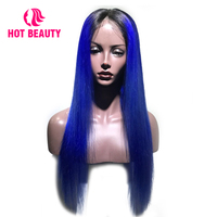 Hot Beauty Hair Lace Front Human Hair Wig Luxury Designed T1B/Blue Color Brazilian Remy Silky Straight Wigs Free Part Wigs Women
