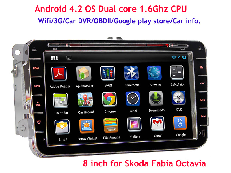 8'' Android 4.4 Car DVD Player Radio GPS Skoda Octavia Fabia Yeti Superb Rapid Spaceback VW Variant CUPRA DVR 1.6Ghz - Copuma Technology Company Limited store