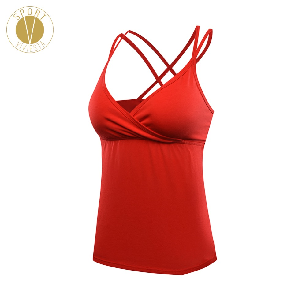 4f4a6b9c7a64a Detail Feedback Questions about Strappy Sexy Tank With Shelf Bra Women s  Yoga Train V Neck Open Back Straps Built in Inner Pads Cups Sleeveless  Sports Top ...