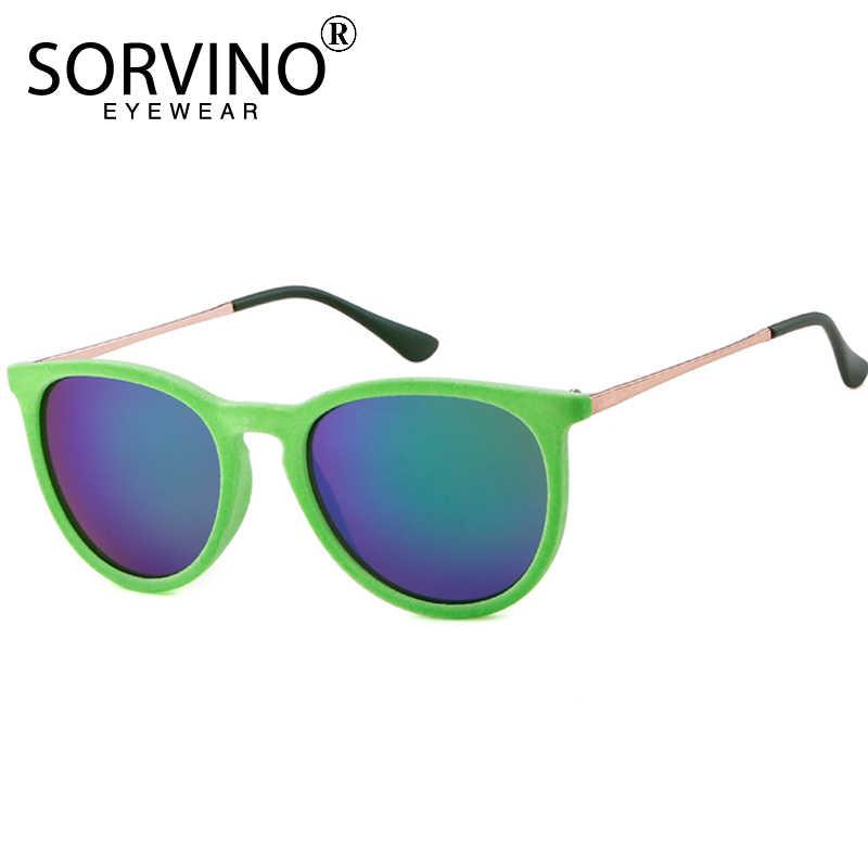 7d9c80221c ... SORVINO Vintage Velvet Mirror Erika Sunglasses Women Men 2018 Brand  Designer Skinny Orange Oval Sun Glasses ...