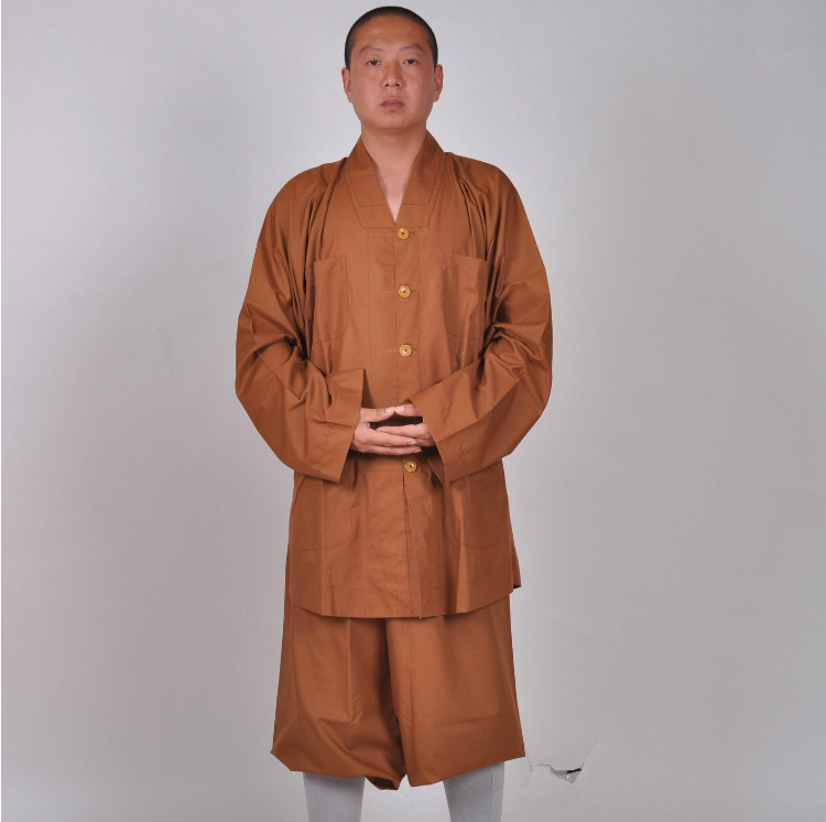 High Quality Shaolin Monk Buddhists Daily  Farming Kung Fu Uniforms Small Gown Robe Cotton