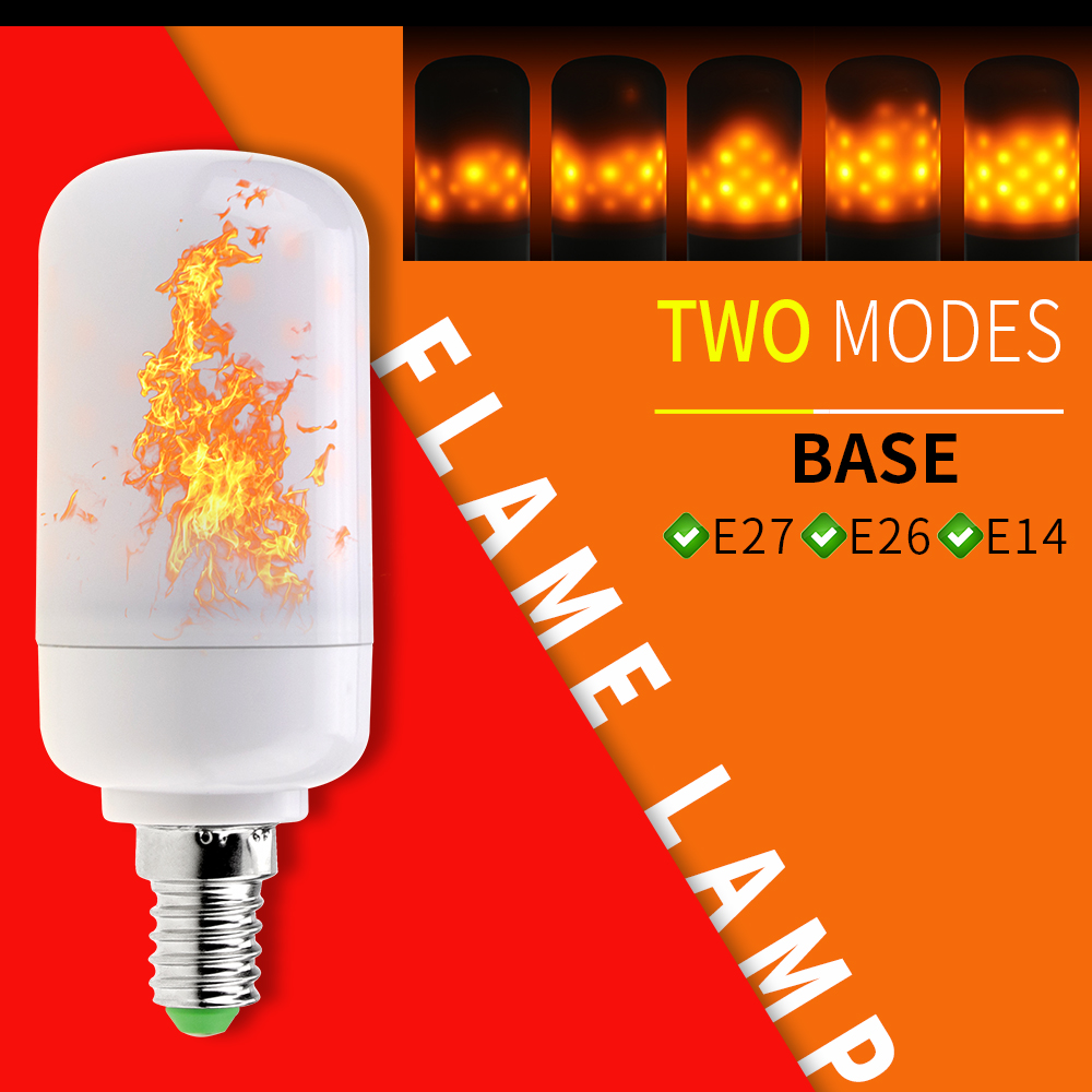 E27 LED Flame Lamps Corn Bulb E14 LED Dynamic Flame Effect Fire Light Bulb E26 Emulation Fire Flickering Holiday Decorative Lamp
