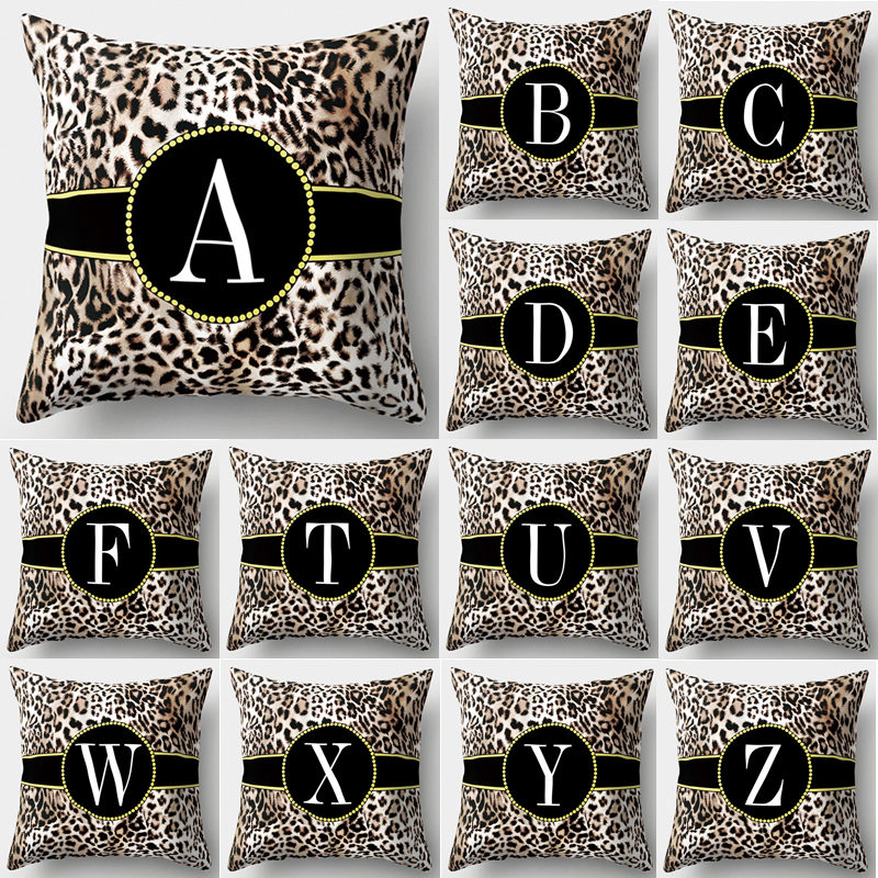 Leopard Pattern Letter Decorative Cushion Cover Pillow Pillowcase Polyester 45*45 Throw Pillows Home Decor Pillowcover 40840