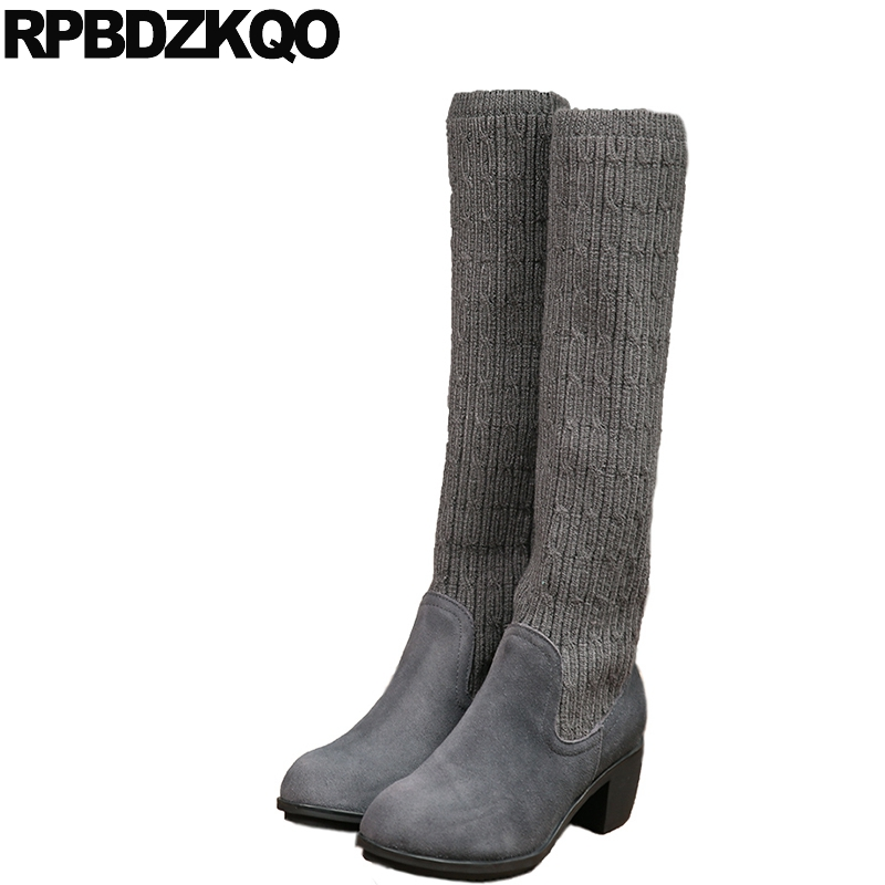 Stretch Round Toe Women Boots Winter 2017 Long Knee High Grey Elastic Suede Ladies Slip On Chunky Slim Knit New Female Fashion grey cable knit slit details round neck long sleeves jumper