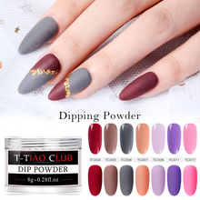 T-TIAO CLUB 8g Matte Color Dipping Nail Powder Natural Dry Art Decoration Without Lamp Cure DIY System